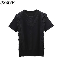New Fashion Korean Clothing Large Size Solid Color Shirt Ladies Shirt Summer Top and Lace Patchwork Blusas Mujer