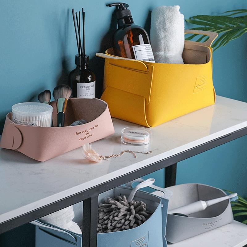 Newest Leather Desktop Receive Jewelry Box Storage Basket Key Sundries Cosmetics Serving Tray Housekeeping Organization 1pc