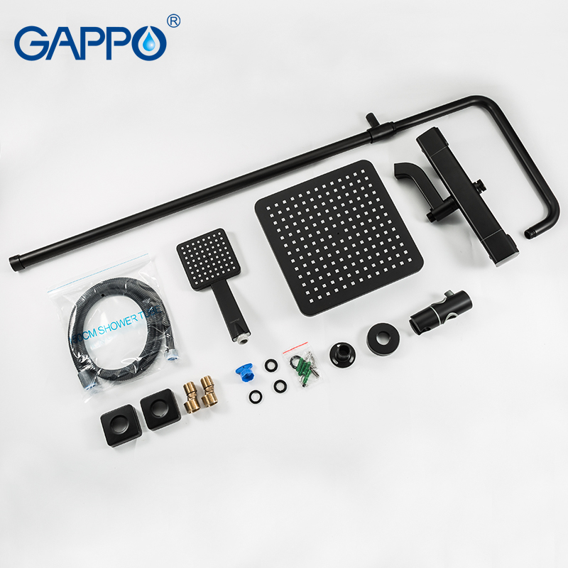 Image 5 - GAPPO thermostatic shower system hot cold mixer bathroom shower Brass faucet Bathtub shower set thermostatic mixer black faucetShower Faucets   -
