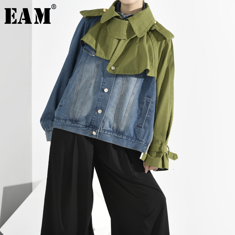 [EAM] Loose Fit Denim Split Big Size Short Jacket New Lapel Long Sleeve Women Coat Fashion Tide Spring Autumn 2020 1B0930