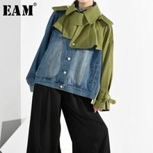 [EAM] 루즈 피트 데님 스플릿 빅 사이즈 쇼트 자켓 새로운 옷깃 롱 슬리브 여성 코트 패션 조수 봄 가을 2020 1B0930