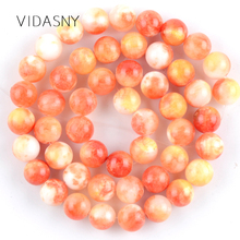 Orange Persian Jades Natural Round Stone Beads for Jewelry Marking 6 8 10mm Charm Spacer Loose Beads Diy Bracelet Necklace 15'' natural fuchsia persian jades stone round loose beads for jewelry making 6 10mm spacer beads fit diy bracelet necklace 15