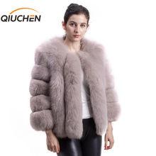 QIUCHEN PJ1819 2020 nuovo arrivo di TRASPORTO LIBERO di inverno delle donne reale pelliccia di volpe cappotto corto grande collo di pelliccia lunga di modo del manicotto delle ragazze giacca