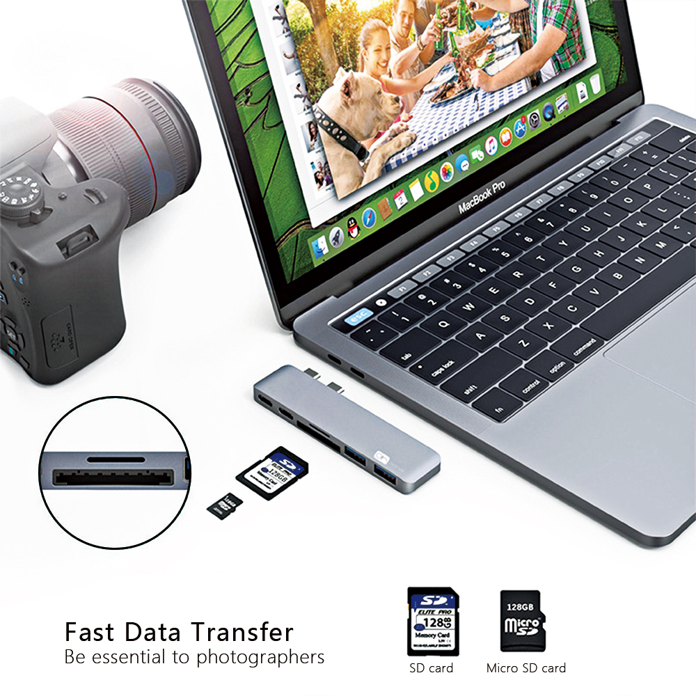 USB C Hub with SD card Reader Aluminum Charging Port USB 3 0 Hub Converter for MacBook in USB Hubs from Computer Office