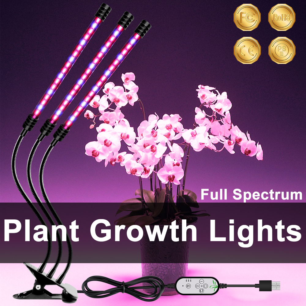 LED 5V USB Grow Light Bulb Grow Room With Red Blue Spectrum Adjustable 3-Head Timer Plant Grow Lamp For Indoor Plants Grow Tent
