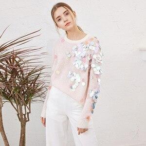 Image 2 - אביב ואגלי פאייטים Loose סרוגים ארוכים נשים 2020 אופנה ארוך שרוול גבירותיי סוודרים דקים מקרית ג רזי C 058