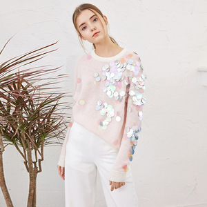 Image 2 - Spring Beading Sequins Loose Knitted Long Sweaters Women 2020 Fashion Long Sleeve Ladies Thin Pullovers Casual Jersey C 058