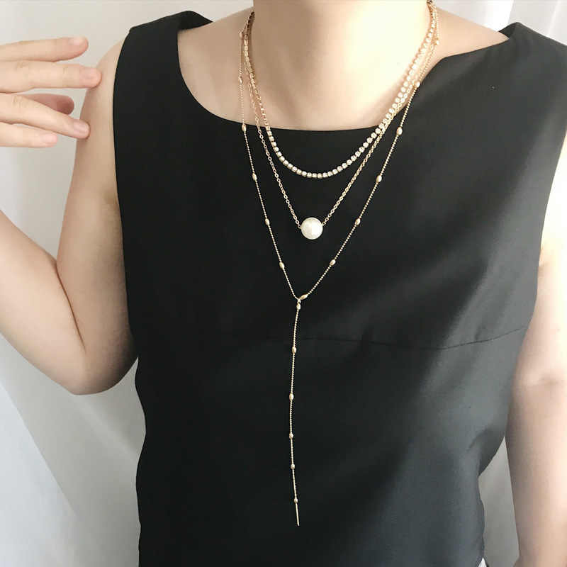 Eropa dan Amerika Baru Klavikula Rantai Leher Wanita Suit Claw Jaringan Liontin Kristal Tiga Lapisan Perhiasan Kalung Mutiara
