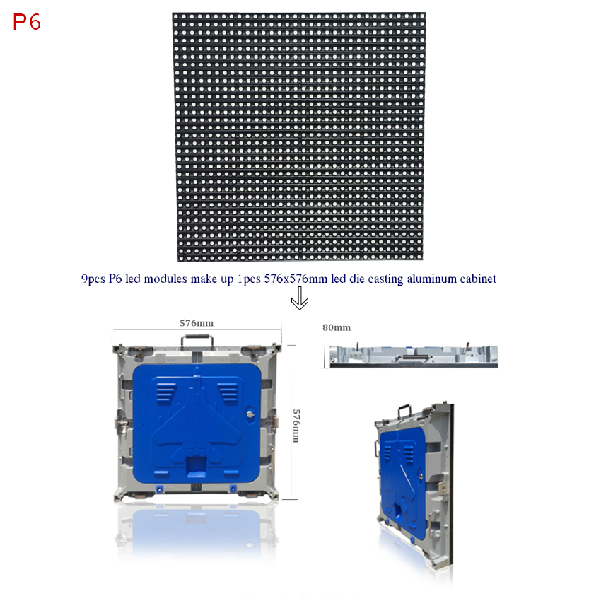P6 outdoor waterproof 192*192mm full color led module, 32x32dots 1/8scan rgb led panel for stage