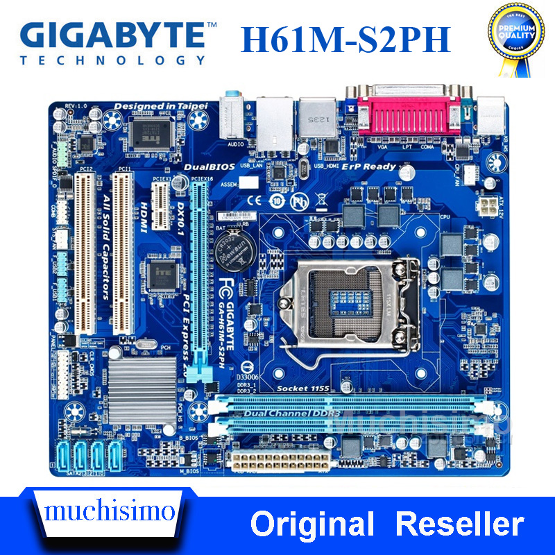 GIGABYTE GA-H61M-S2PH Desktop Motherboard H61 Socket LGA 1155 I3 I5 I7 DDR3 16G UATX UEFI BIOS Original H61M-S2PH Used Mainboard