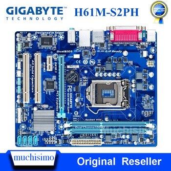 GIGABYTE GA-H61M-S2PH placa base de escritorio H61 Socket LGA 1155 i3 i5 i7 DDR3 16G uATX UEFI BIOS Original H61M-S2PH se placa base