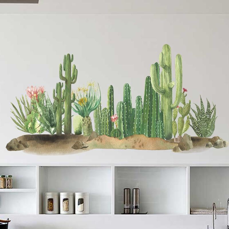 Наклейки на стену с изображением пустыни кактуса для гостиной, спальни, детской комнаты, столовой, Настенный декор из ПВХ, художественные на...