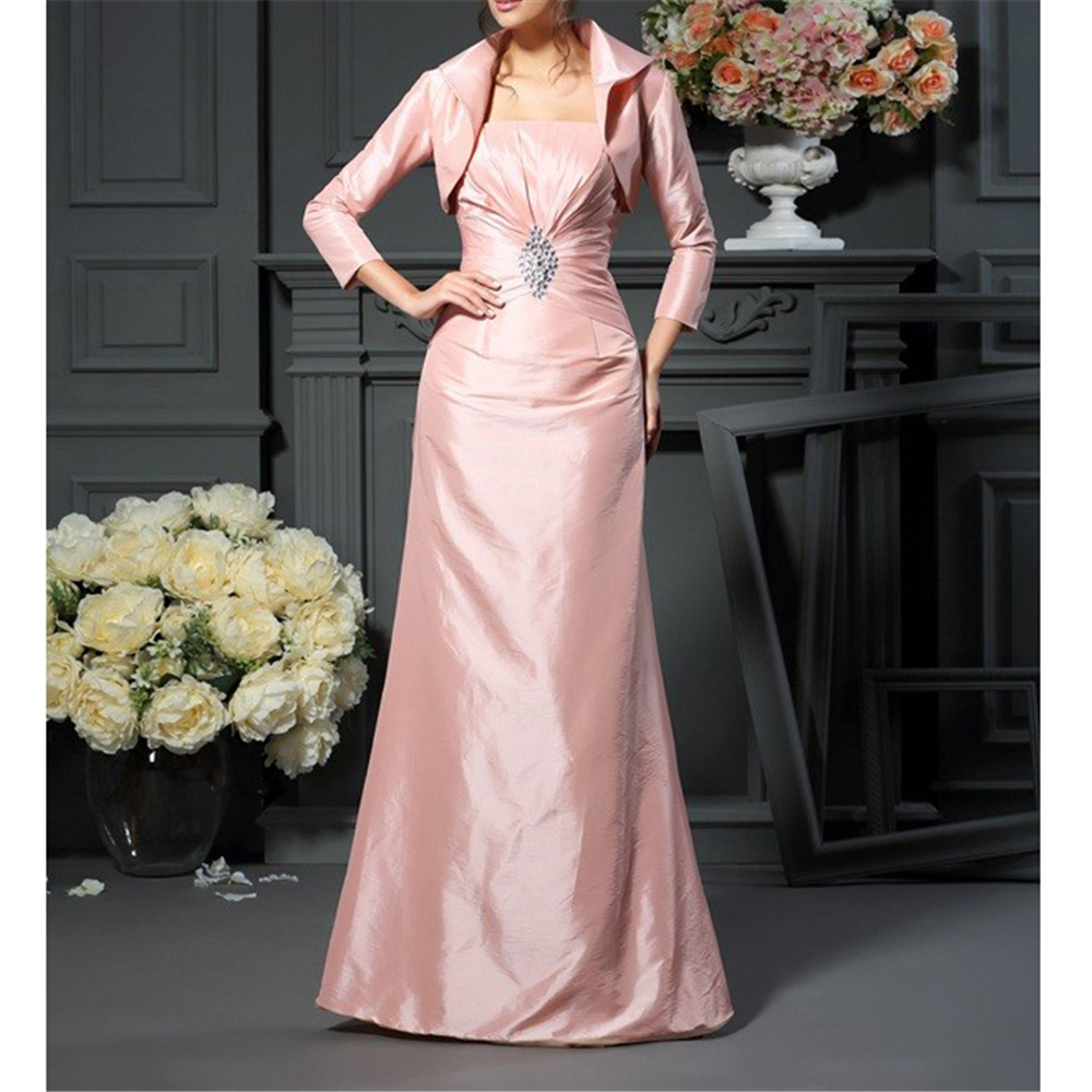 Pink Taffeta Mother Of The Bride Dresses With Jacket A-line Gorgeous Full Sleeves Beading Ruffles Appliques Women's Dresses