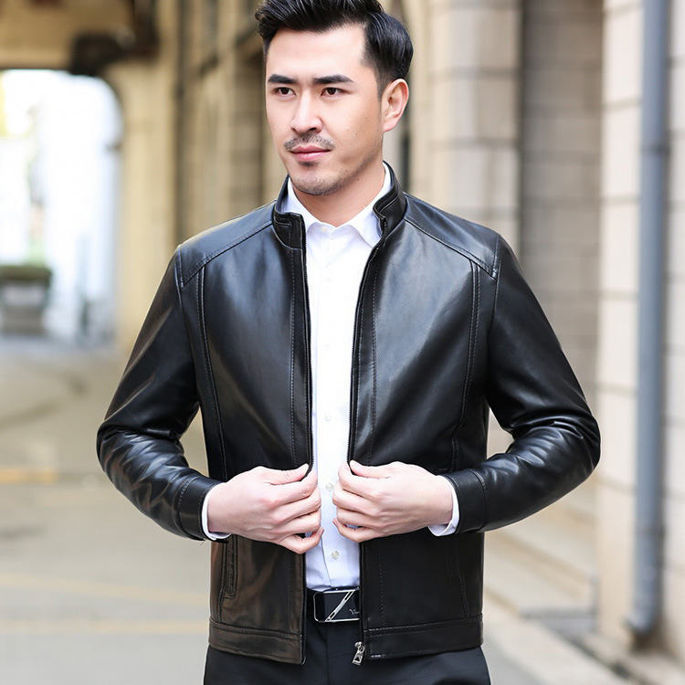 Spring And Autumn New Style Middle-aged Men PU Leather Stand Collar Casual Men'S Wear Thin Cashmere Leather Jacket Middle-aged S