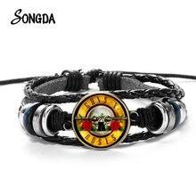 Neueste Guns N Roses Rock Band Armband Punk Guns und Rosen Band Logo Druck Glas Edelstein Handgemachte Multilayer Geflochtenes Armband