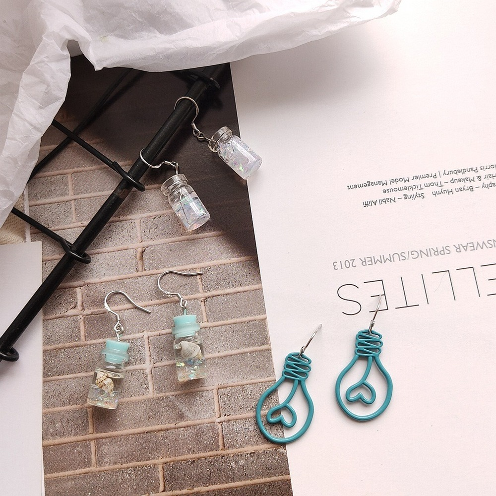 Korean Fashion Unique Handmade Blue Abstract Love Light Bulb Transparent Glass Pendant Retro Ladies Earrings Party Jewelry