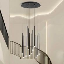 Современная светодиодная люстра черного/золотого цвета, освещение для гостиной, столовой, двойная вращающаяся лестница, регулируемая большая Подвесная лампа