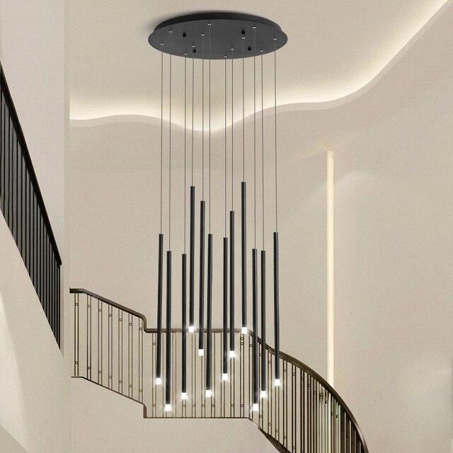 أسود/الذهبي الحديثة LED أضواء الثريا لغرفة الطعام المعيشة دوبلكس الدورية الدرج قابل للتعديل مصباح كبير جديد معلق