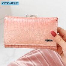 VICKAWEB Frauen Aus Echtem Leder Kurze Brieftasche Weibliche Mode Geldbörsen Damen Alligator Haspe & Zipper Geldbörse Frau Kleine Brieftaschen