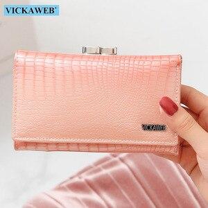 Image 1 - Vickaweb carteira feminina de couro legítimo, carteira curta de moda feminina, bolsa com fecho e zíper de jacaré