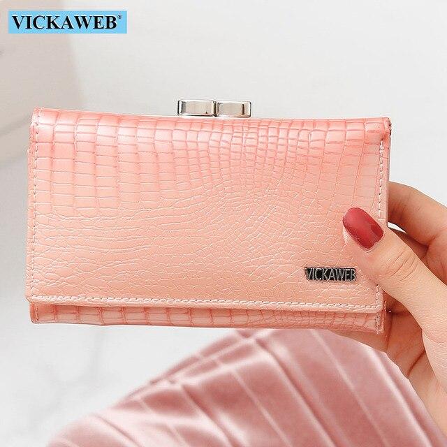 Vickaweb carteira feminina de couro legítimo, carteira curta de moda feminina, bolsa com fecho e zíper de jacaré