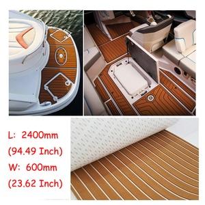 Image 3 - 600X2400X5Mm Eva Foam Faux Teak Boot Dek Mat Bruin Decking Sheet Jacht Vloeren Anti Skid mat Zelfklevende Voertuig Pad