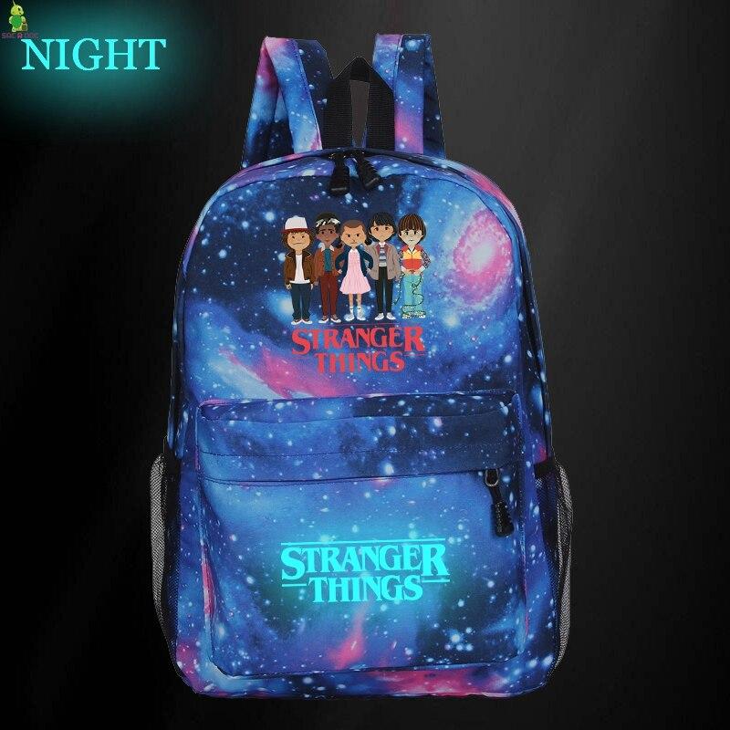 Stranger Things Backpack Luminous School Bags For Teenage Galaxy Space Backpacks Girls Boys Travel Rucksack Kids Daily Book Bags