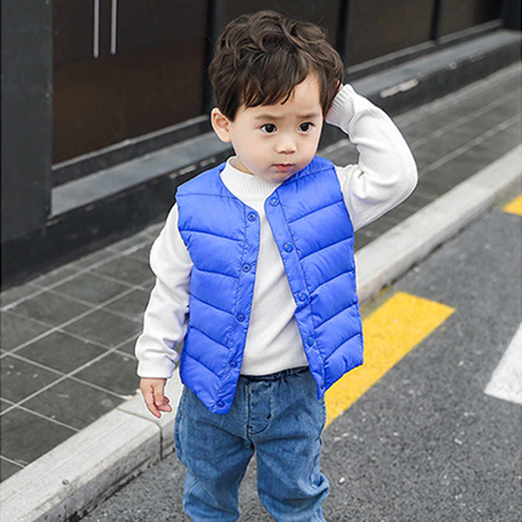 Jacket Winter For Girls Boys Solid Sleeveless Vest Parka Winter Warm Kids Children Jackets Windbreaker Coat Baby Clothes 19Aug