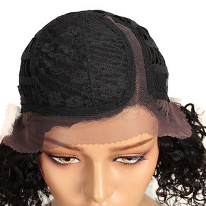 Image 4 - Trueme Bob Right Side Deep Part Curly Lace Wig Brazilian Short Bob Lace Front Curly Human Hair Wigs For Black Women