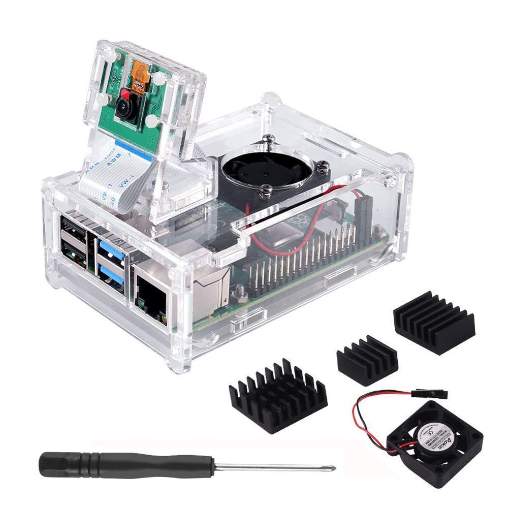 Raspberry Pi 4 B Case Supporting Camera Installation With Heatsinks + Camera Case Holder + Cooling Fan + Acrylic Case For Pi 4