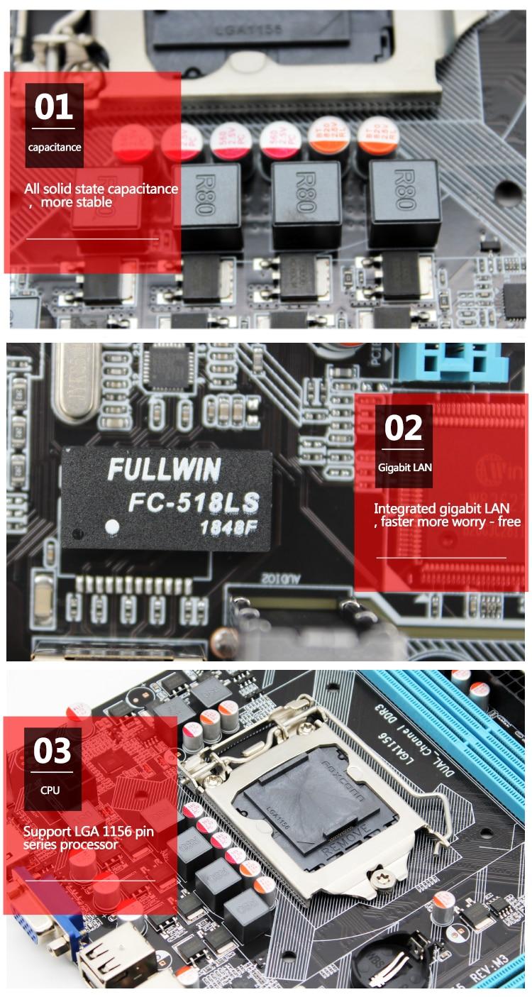 MACHINIST H55 Motherboard socket LGA 1156 Supports DDR3 16G and I3/I5/I7 CPU PCI-Express USB2.0 Ports Mainboard Main Board 4