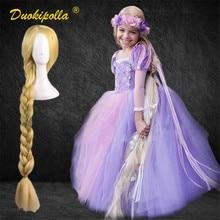 Halloween rapunzel vestir-se festa das crianças emaranhado coaplay traje fantasia infantil natal traje para meninas rapunzel cabelo