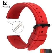 Maikes красный фтор резиновый ремешок для часов 20 мм 22 Мужские