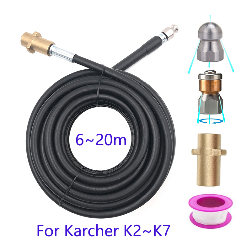 High Pressure Washer 6~20 meters Sewer Drain Water Cleaning Hose for Karcher K-Series For Washing Sewer and Sewage Pipe Cleaning