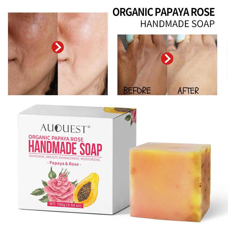 Jabón orgánico AuQuest Papaya Rosa hidratante blanqueamiento vitamina aceite esencial jabón facial Natural barra de limpieza cuidado de la piel TSLM1