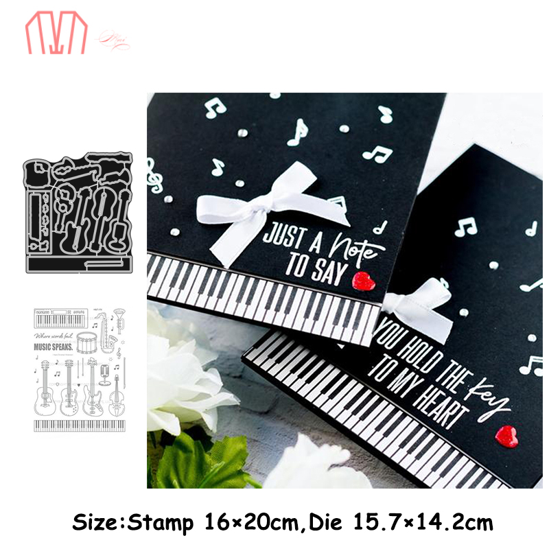 Mai Musical Instruments Metal Cutting Dies Stencils Cear Stamp For DIY Scrapbooking Photo Album Decorative Embossing Paper Cards