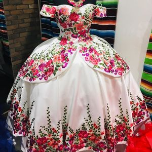 Image 1 - Floral Satin vestidos de 15 años 2019 Puffy Embroidery Quinceanera Dress Off the Shoulder Sweet 15 Dress Long Prom Gowns