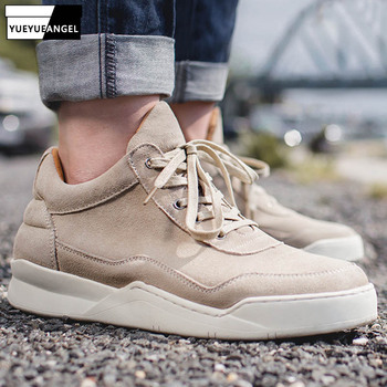 2019 Autumn Brand Genuine Cow Suede Round Toe Casual Leather Shoes Men Vintage Breathable Sneakers Round Toe Ankle Shoes Male