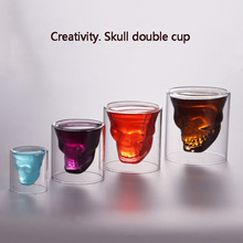 Double  Transparent Skull Glass Cup Red Wine Milk Whisky Tea Coffee Drinks Spirits Insulation Water glass reusable Tool bar particular handled skull design 400ml wine coffee tea cup