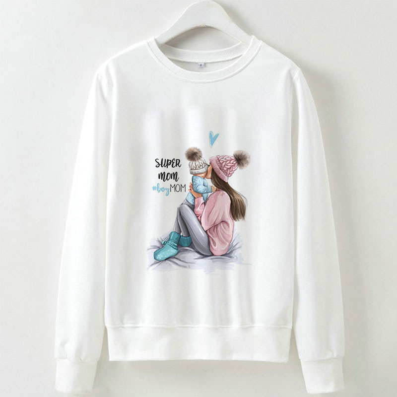 Women Sweatshirts Casual Super Mom Printed Hoodies Sweatshirt Long Sleeve Fashion O-Neck Pullover Tops Kawaii Sweatshirts Hooded