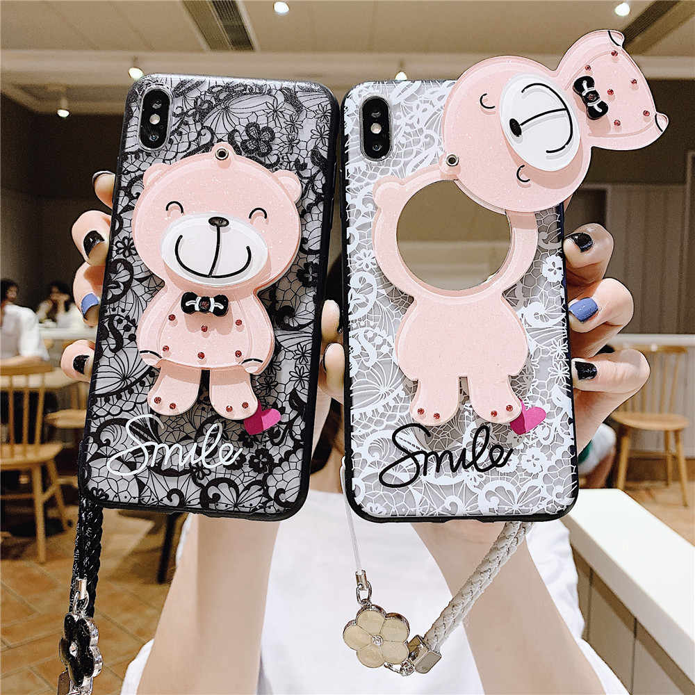 Case for Samsung Galaxy A50 A70 A80 A40 A30 A20 A10 Cover S10E S10 S7 S8 S9 Plus Shell Lovely Mirror Lace Bear Note 10 9 8 Case