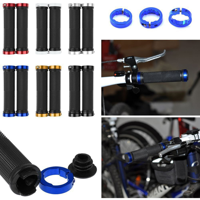 1 pair MTB BMX Road Cycling Handlebar Grips Anti-Skid Rubber Bicycle Grips Mountain Bike Lock On Bicycle Handlebars End Grips