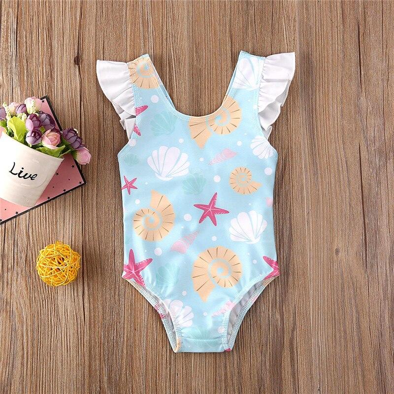 0-3 Years Newborn Baby Kid Girls Swimsuit Cute Bow Ruffles Shell Starfish Print Swimwear For Girls Summer Baby Girl Bathing Suit