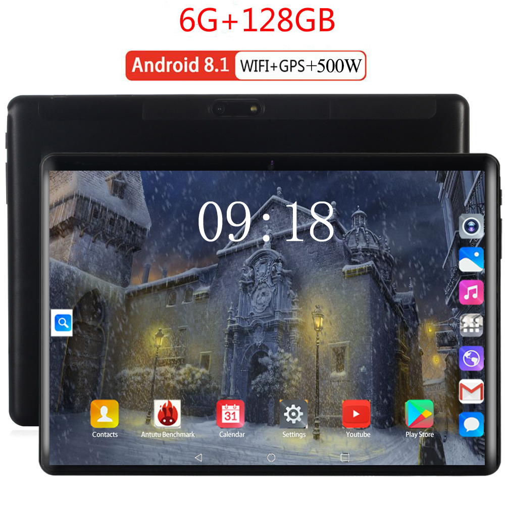 New 10 Inch Original Design 3G/4G Phone Call Android 8.0 Octa Core 6G+128G Android Tablet Pc WiFi Bluetooth GPS IPS Tablets 10.1