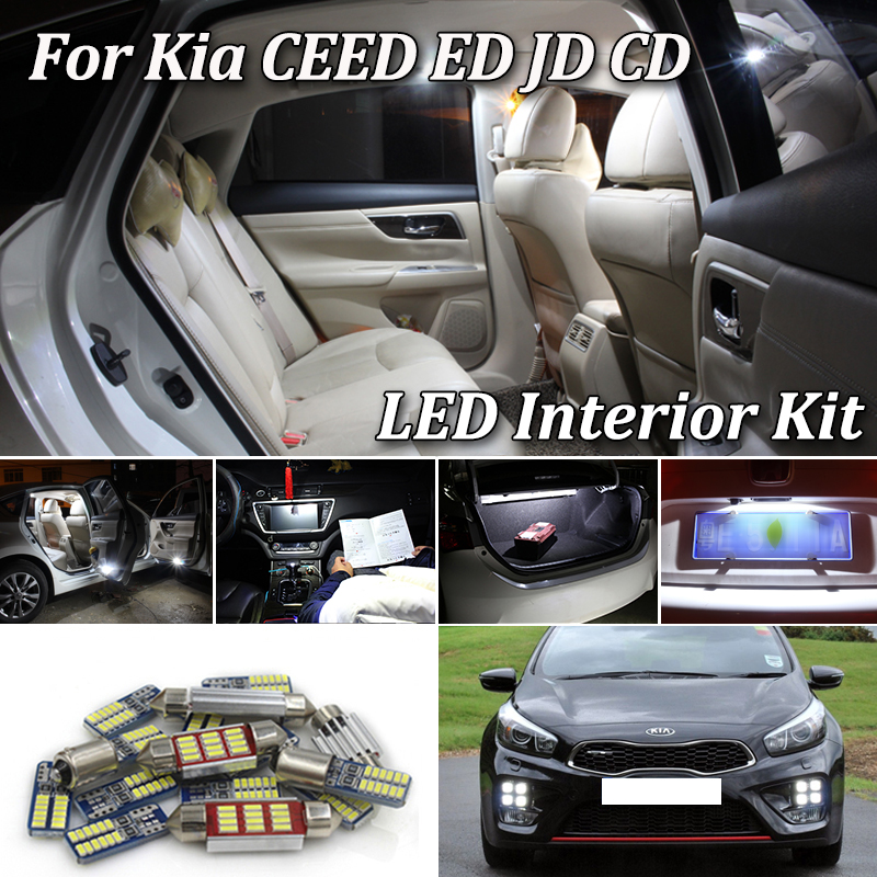 100% White Canbus Error Free LED Interior Lamp Light Kit For KIA CEED ED JD CD Combi SW Hatchback Sportswagon Pro GT (2006-2019)