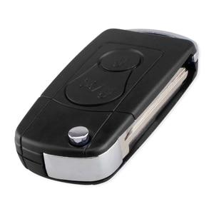 KEYYOU 2 кнопки модифицированный Флип складной чехол для дистанционного ключа от машины для SsangYong Actyon Kyron Rexton ключ оболочки чехол пустой неразрезанный лезвие