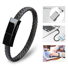 Sindvor Wearable Braided USB Charging Bracelet Leather Phone Cable Wire Charger for iPhone Type C Android Phones