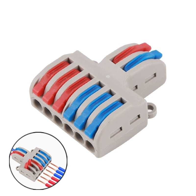 1PC Wire Connector 2 In 4/6 Out Wire Splitter Terminal Compact Wiring Cable Connector Push-in Conductor Electrical Supplies