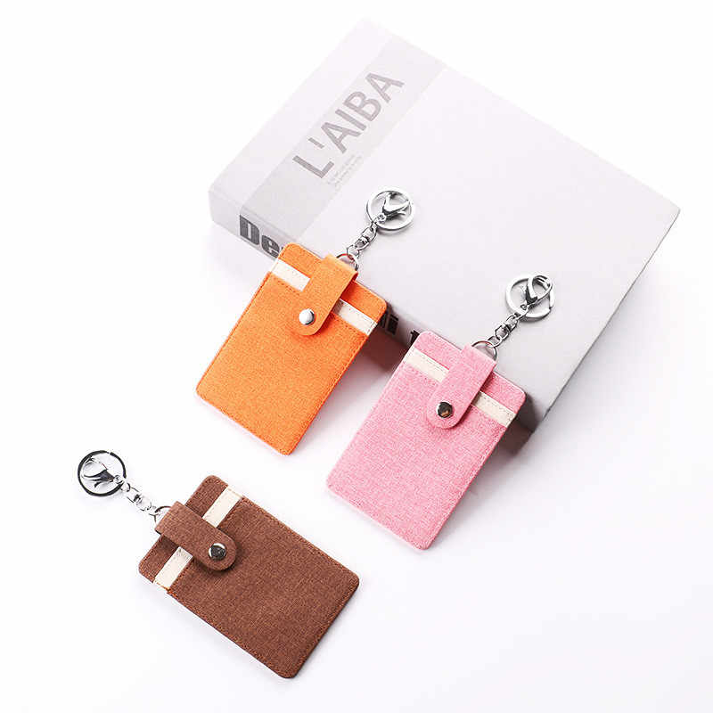 Koreański śliczny lniany prosty solidny identyfikator nazwa karta bankowa portfel z uchwytem studencka karta autobusowa pokrywa pieniądze torebka na monety z pęku kluczy