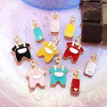 5pcs/Bag New Baby Clothing Bottle Shape Pendant Children's Cute Alloy Dripping Accessories Diy Earrings Necklace Materials